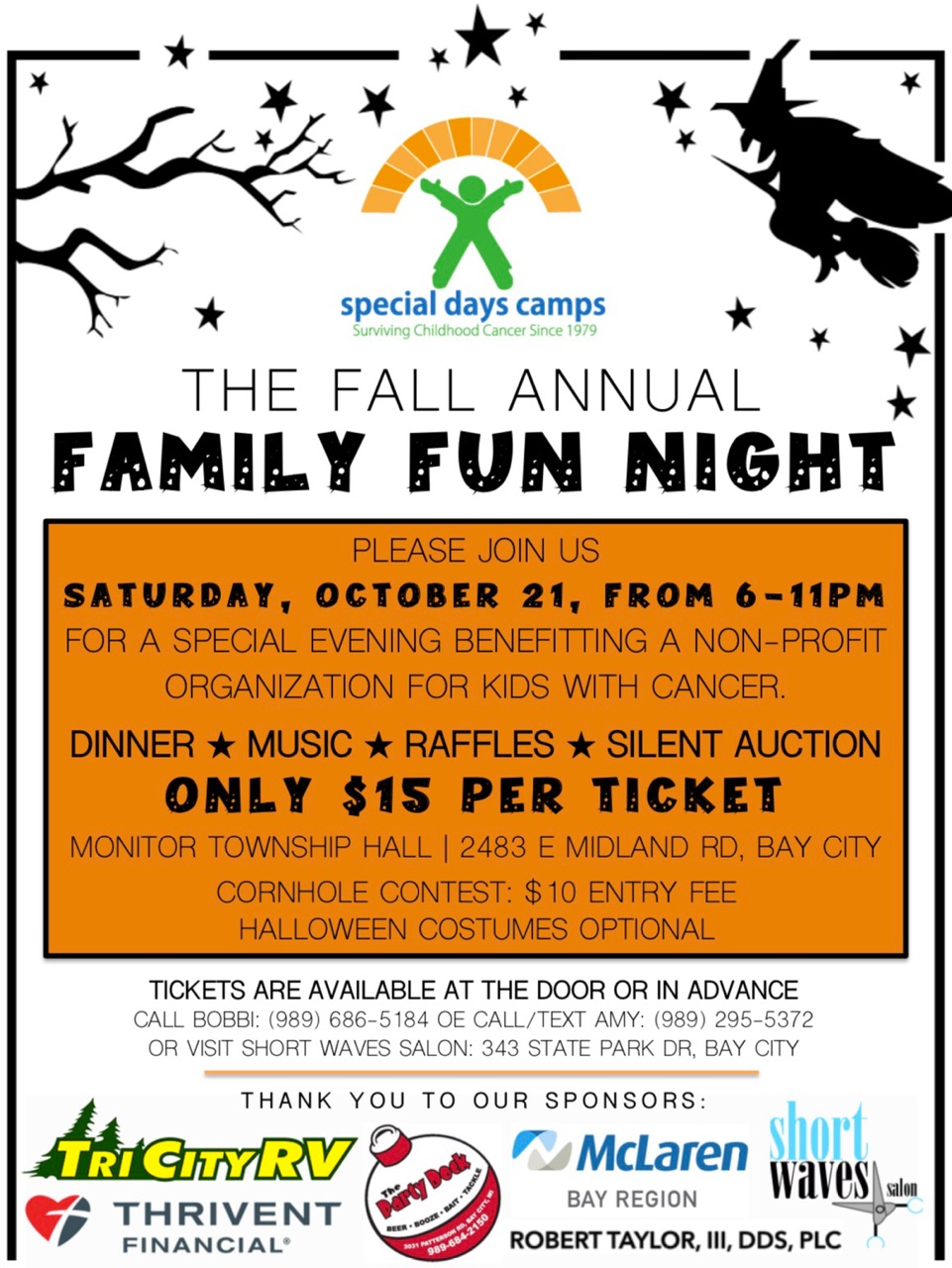 Please Join Us Saturday October 21st At Monitor Township Hall For An Evening Benefiting Special Days Camps Tickets Are 15 Each And Include Dinner Music